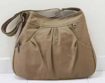 Back To School SALE - 40% OFF Hoodie in Khaki / Market Bag / Sling Shoulder Bag / Tote / Purse / Handbag / Hip bag  / Women / For her