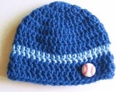 Ready To Ship -  Crocheted Blue Baby Boy Beanie Hat - Blue Baby Cap Baseball Button - Size 0 to 3 Months