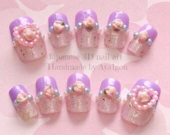 Lavender nail, kawaii nails, 3D nails, heart, rose, glittery, french tips, cute nails, nail art, Japanese nail, nail set, pastel nail