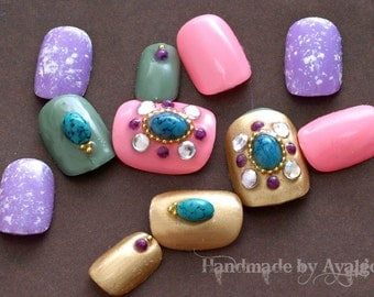 Japanese nail art, fake nails, acrylic nails, gel nails, ethnic, boho, turquoise, colorful nail art, 3D nails, Morrocan, nail gem,