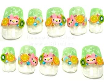 Fairy kei, decora, kawaii nails, 3D nails, fruit, orange, melon, kiwi, bunny, stars, pastel, yellow green, summer nail art