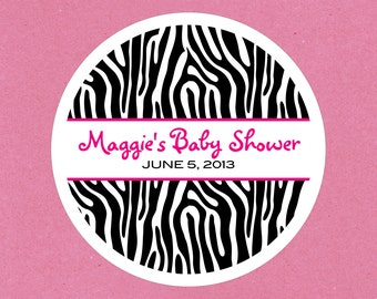 Zebra Print . Personalized Baby Shower Stickers, Labels or Tags