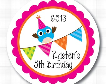 Party Owl with Bunting . Personalized Birthday Stickers, Labels or Tags