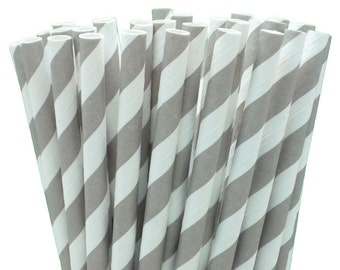 25 Grey Striped Paper Straws with Printable Party Flags PDF File