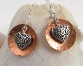Hand Hammered Copper Earrings with Sterling Silver and Tierra Cast Hearts, Harleypaws, SRAJD 2601