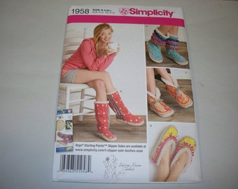 New Simplicity Misses' Slipper Pattern, 1958 (Free US Shipping)