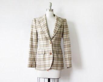 70s plaid blazer, vintage cream plaid wool blazer, 1970s women's blazer jacket