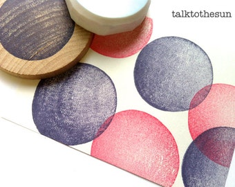 circle stamp. geometric pattern hand carved rubber stamp. polka dot stamp. making gift tags, cards, gift wraps. great for any events