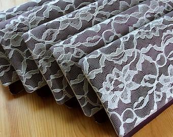 5 Bridesmaid Clutches - Purple Wedding Clutches - Eggplant and Ivory - Lace Wedding Clutches - Bridesmaid Gift Idea