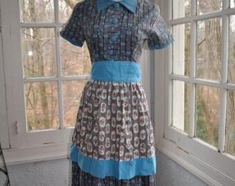 Dressy 1950s Vintage Serving Apron Robins Egg Blue And Gingham Print Cotton