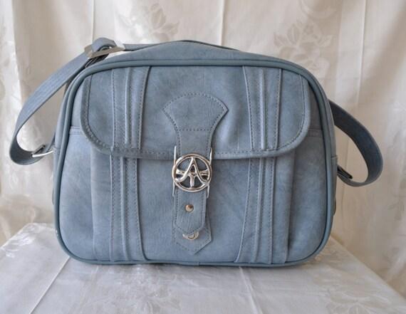 Retro Mod Vintage 1970s Powder Blue Shoulder Tote Bag American Tourister