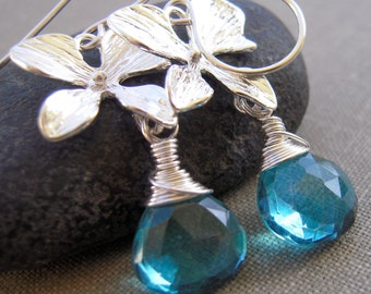 Teal Quartz Earrings, Silver Plated Flower, Argentium Silver, Hand Made, Drop