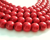 Cherry red wood round beads - Red Wooden Beads 12x11mm - 30pcs  (PB225C) - AnnyMayCraftSupplies