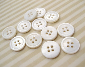 Mother of Pearl Shell Buttons 13mm - set of 10 eco friendly natural buttons  (BN654)