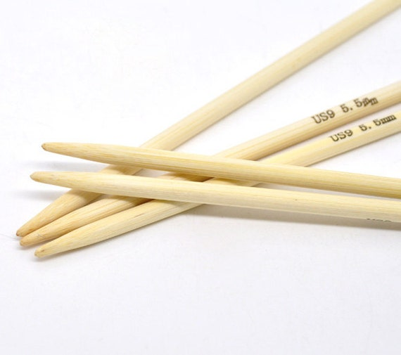 Wooden Knitting Needles : Items similar to Wood Knitting Needles US Size 9 - 5.5mm Bamboo DP on ...