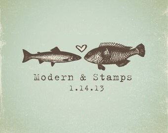 Wedding Stamp   Custom Wedding Stamp   Custom Rubber Stamp   Custom Stamp   Personalized Stamp   Vintage   Love Fish Stamp   V9