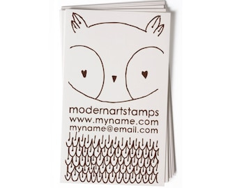 Business Card Stamp   Custom Rubber Stamp   Custom Stamp   Personalized Stamp   Owl Stamp   Bird Stamp   BC32