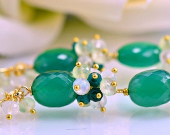 Green Onyx Gemstone Dabgle Earrings Moonstone Quartz Prehnite 14k Gold Filled Wire Wrapped Earrings