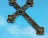 1 huge ornate cross pendant, bronze tone, 81mm
