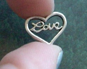 SALE - 20 heart charms or connectors with 'Love' in script, silver tone, 13mm