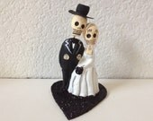 Black Till Death Do Us Part Dia De Los Muertos Cake Topper - Halloween, Wedding, Engagment Party, Day of the Dead