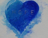 Hope: Original Fine Art Painting - Bleeding Blue Heart on White Watercolor Paper- Valentine, Daily Painting