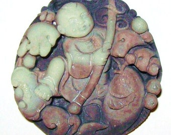Unusual ZiPao Jade Child Buddha with Fishing Pole and Fish