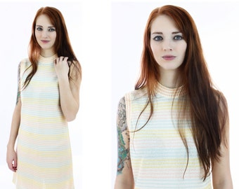 Mod Knit Shift Dress Pastel Stripes 60s 70s MOD Mini 1960s A-Line Pink Blue Yellow Retro Indie Day Dress Medium M L