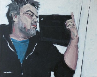 "Artist Self Portrait Painting . ""Me & iPad"" 16x20 in."