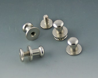 Silver Leather BUTTON POST Closure for leather cords. Sold by 2 sets.