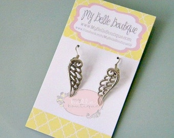 Antique Silver Angel Wing Earrings READY TO SHIP