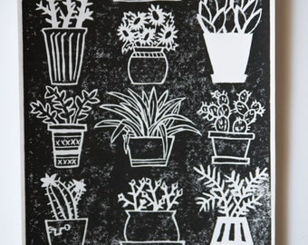 Potted Plants Linocut Block Print