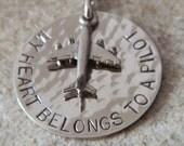 My Heart Belongs to a Pilot Handstamped Necklace