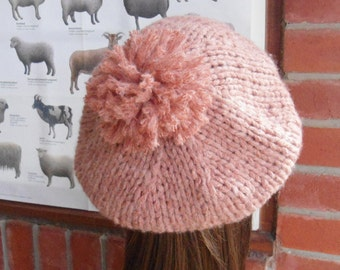 PEACHY pompom coral PINK slouch soft wool bamboo fibre hand knit beret tam by irish granny