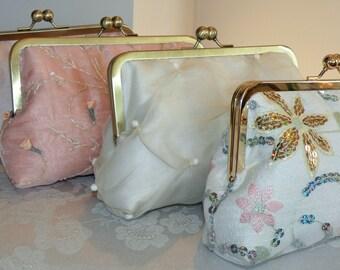 Bridal Clutch/Purse/Bag..Sequin Florals..Long Island Bride/Wedding Gift/Ivory Pink Gold..Seafoam Green..Silk/Pearls/Free Monogram/Scarf/Wrap