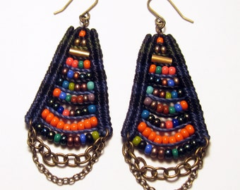 Woven Temple Earrings in Navy & Black