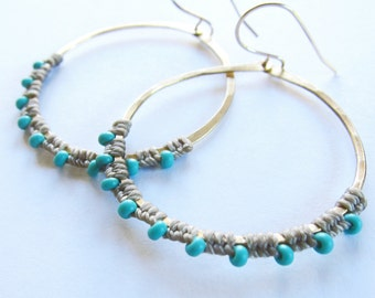 Full Moon Rising Hoops in gray and turquoise