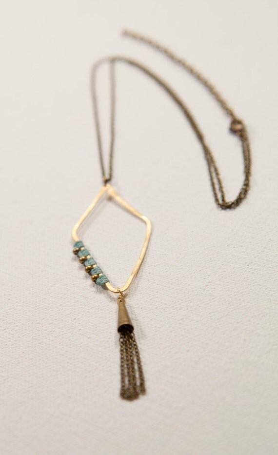 Diamond & Tassel Necklace (aqua, brass)