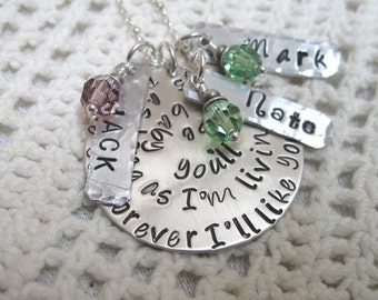 Mothers Necklace - I'll love you forever. I'll like you for always. As long as I'm living, my baby you'll be. Name Tags and Birth Stone