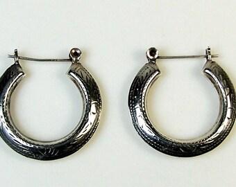A Pair of Vintage Sterling Silver Ornamental Hoop Earrings