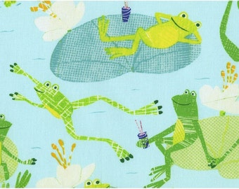 Play Date Playdate Frogs in the Pond Lilypads Aqua Blue Dear Stella Fabrics - 1 yard - IN STOCK