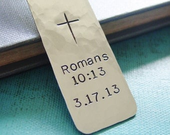 Bible Verse Bookmark,Personalized Date,Silver Metal Bookmark,Custom Hand Stamped,Cross Bookmark,First Communion,Scripture,Christian Gift