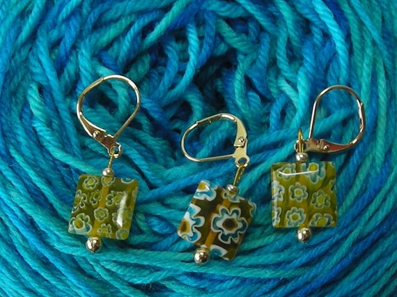crochet stitch markers - knitting stitch markers - removable stitch markers - sunny yellow millefiori beads - set of 6