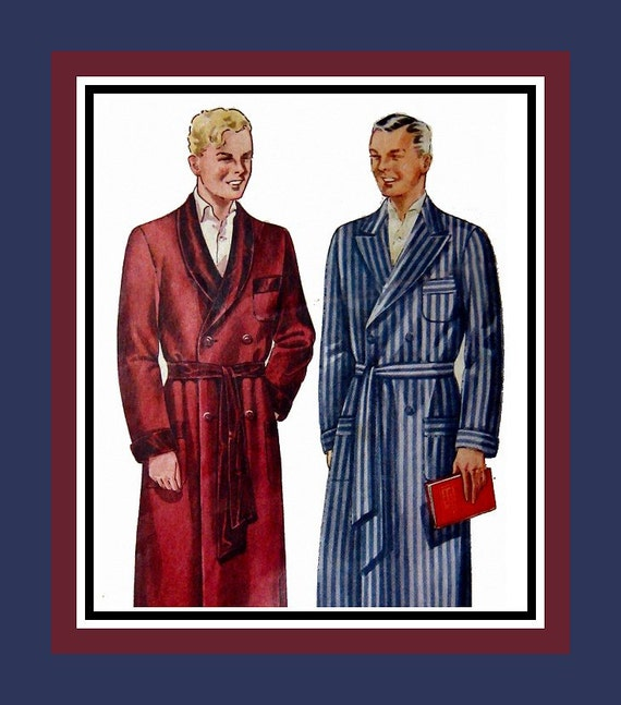 Antique Dressing Gown: Vintage 1930s DOWNTON ABBEY Style Gentlemens Dressing Gown
