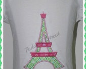 Embroidered - Eiffle Tower appliqued machine shirt with personalization