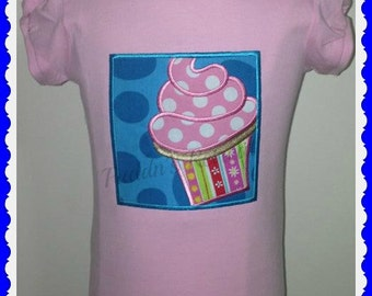 Girls Embroidered  Cupcake Appliqued Tee T Shirt