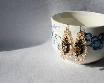 EARRINGS - Diamond Long - Taupe - Chandelier - Owl - Birthday - Wisdom -  Free Standing Lace Embroidery - Long