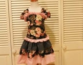 Girls Skirt Set, Handmade Dress, Party Dress with Corset Top and Ruffled Skirt in Black and Pink
