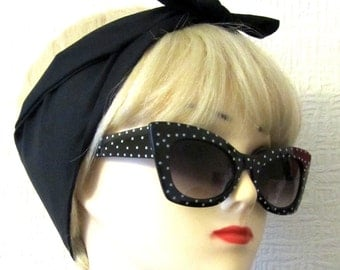 Black Hair Tie plain Fabric Head Scarf by Dolly Cool