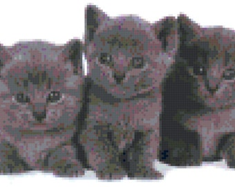 Grey Kitten Trio Counted Cross Stitch Pattern